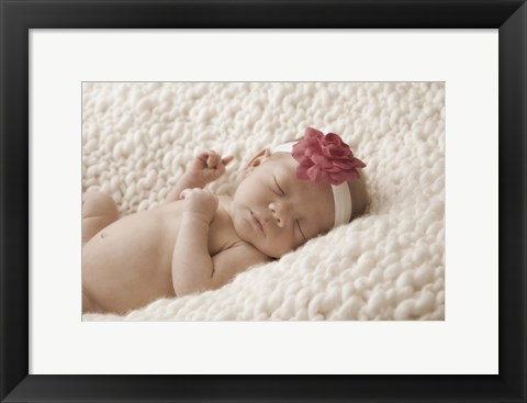 Framed Baby With Pink Flower Headband Print