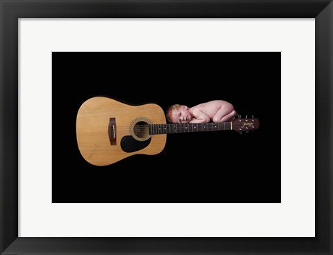 Framed Baby And Guitar Print