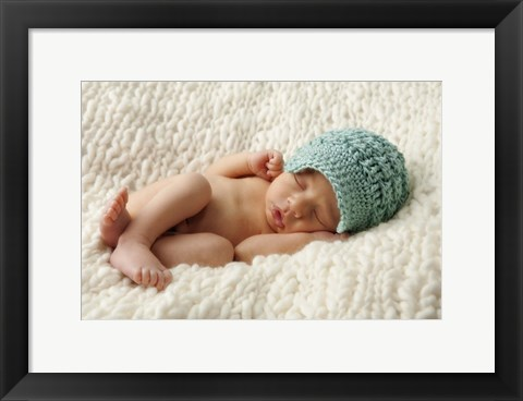 Framed Baby In Sky Blue Cap Print