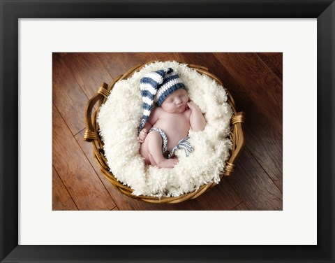 Framed Baby Blues And White Print