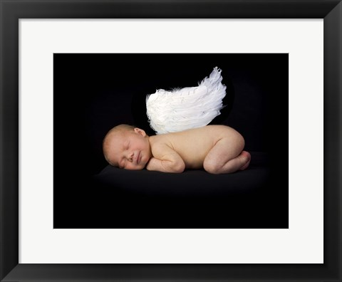 Framed Baby In Feathered Wings Print