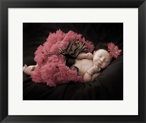 Framed Baby And Pink With Stripe Print