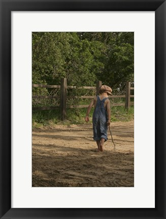 Framed Little Boy In Overalls Print