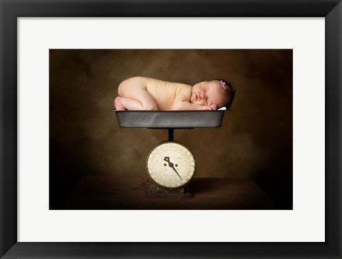 Framed Baby On Scale Print