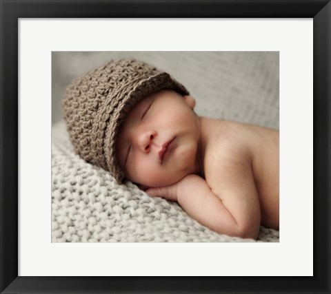 Framed Baby In Brown Knit Cap Print