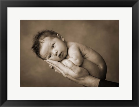 Framed Baby Resting On Hand Print