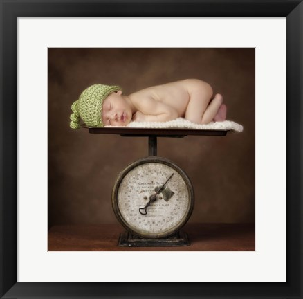 Framed Baby In Green Cap On Scale Print