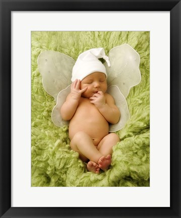 Framed Baby Fairy On Green Print