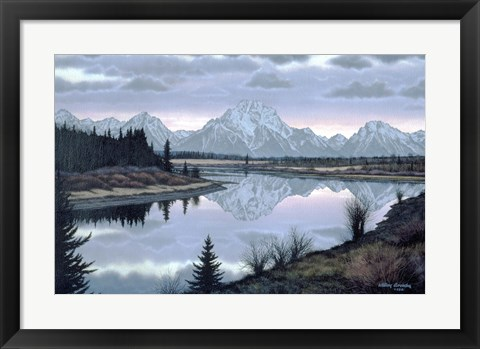 Framed Sunset At Oxbow Print