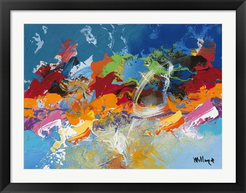 Framed Abstract Ocean Blue 5 Print