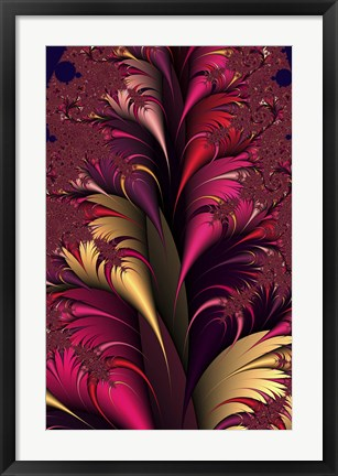 Framed Plumes Red Print
