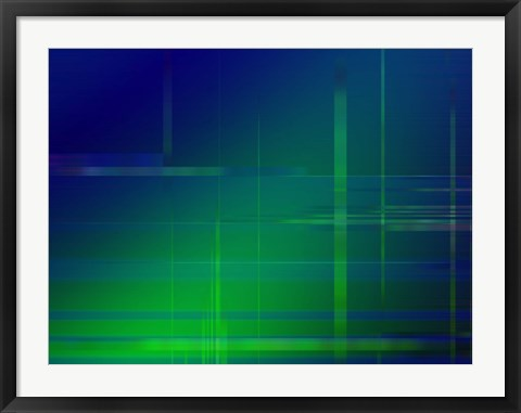 Framed Green Blue Print