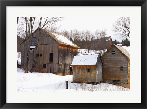 Framed Winter Barns Print