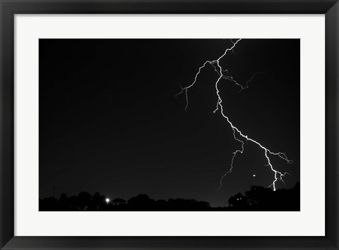 Framed Lightning Crashes Print