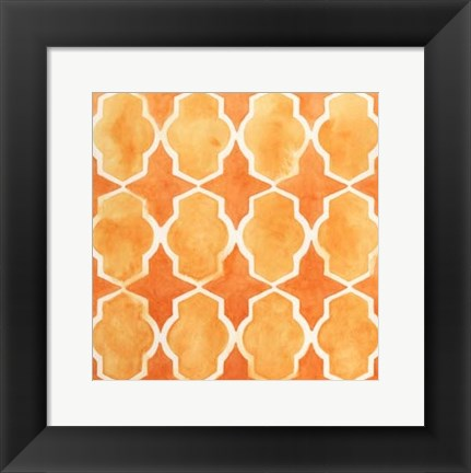 Framed Watercolor Tiles IX Print