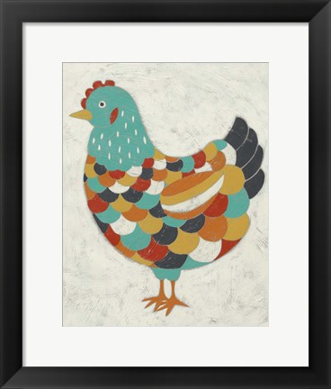 Framed Country Chickens II Print