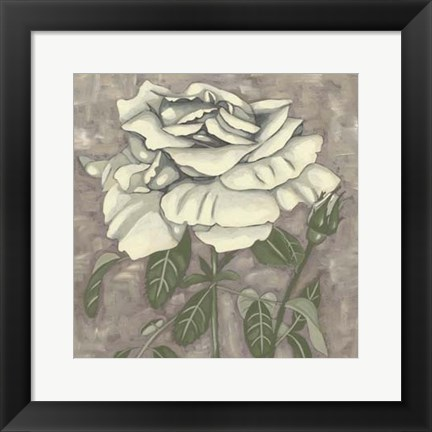 Framed Silver Rose I Print