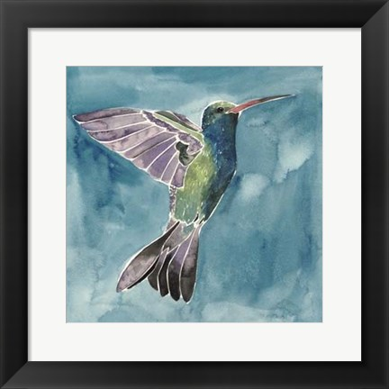 Framed Watercolor Hummingbird I Print