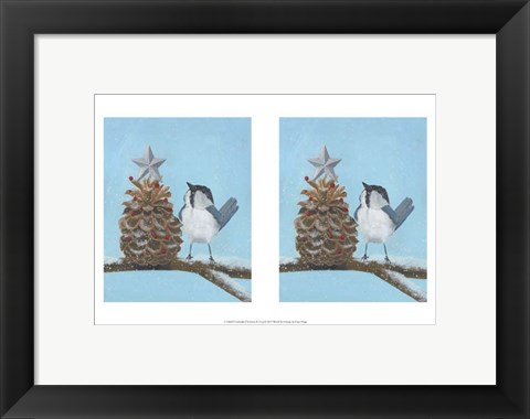 Framed Chickadee Christmas II 2-Up Print