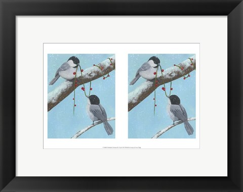 Framed Chickadee Christmas IV 2-Up Print