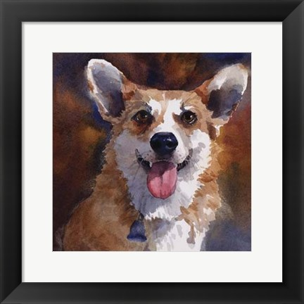 Framed Ben Welsh Corgi Print