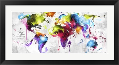 Framed Abstract Map - World Print