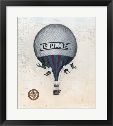 Framed Vintage Hot Air Balloons II Print