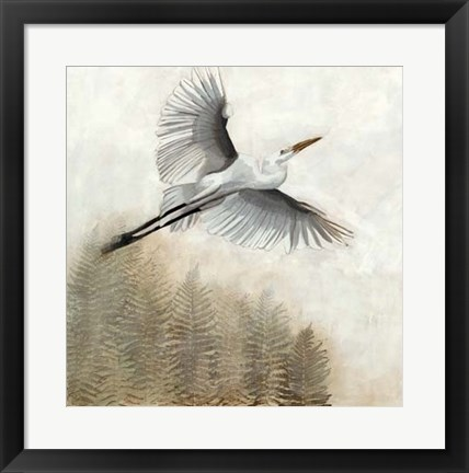 Framed Waterbirds in Mist I Print