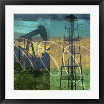 Framed Oil Rig & Oil Well Collage Print