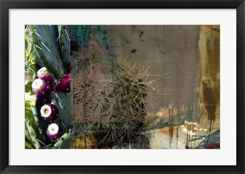 Framed Texas Cactus Collage Print