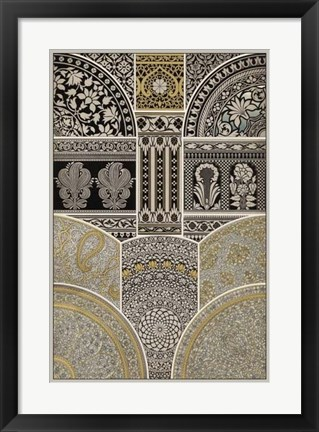Framed Ornament in Gold & Silver I Print