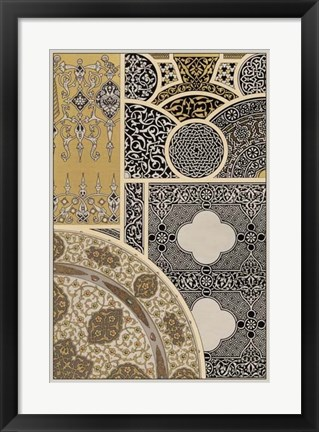 Framed Ornament in Gold & Silver III Print