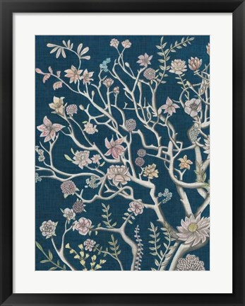 Framed Indigo Night Chinoiserie I Print