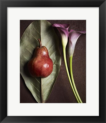 Framed Leaf with Pear 3 Print