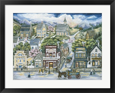 Framed Mining Town Of Silver City Print