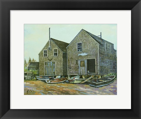 Framed Fish Houses Print