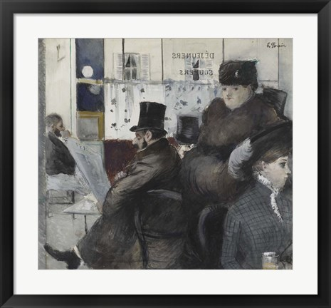 Framed Interior Of The Cafe Nouvelle Athenes Print