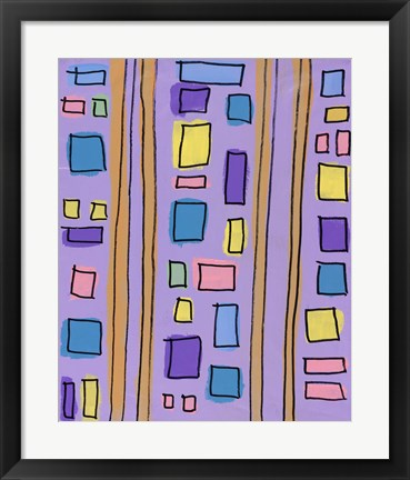 Framed Squares and Stripes Purple Print