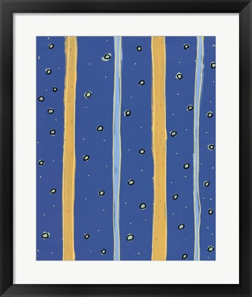 Framed Bubbles and Stripes Blue Print