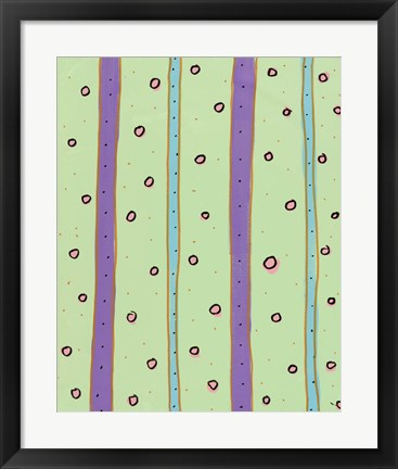 Framed Bubbles and Stripes Mint Print