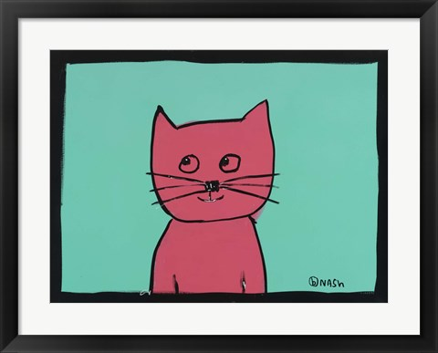 Framed Pink Cat Print