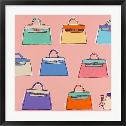 Framed Kelly Bags - Pink Print