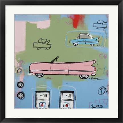 Framed Pink Car Print