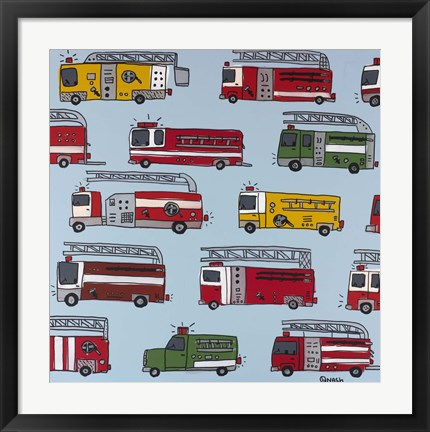 Framed Fire Trucks Blue Print