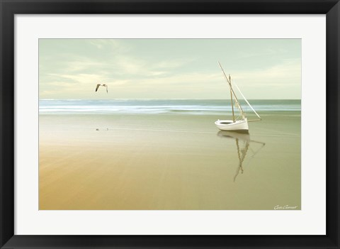 Framed Soft Sunrise on the Beach 1 Print