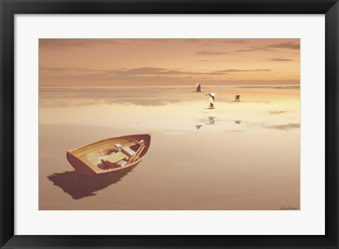 Framed Soft Sunrise on the Beach 2 Print