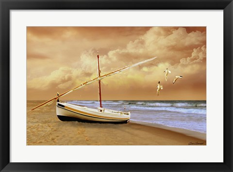 Framed Soft Sunrise on the Beach 10 Print