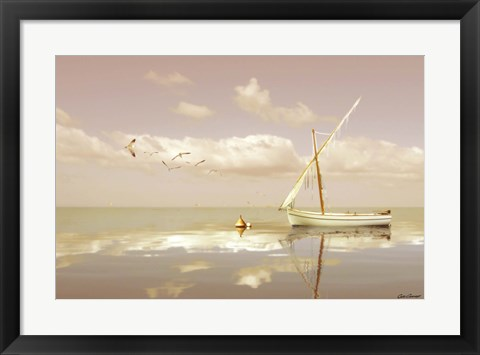 Framed Soft Sunrise on the Beach 12 Print