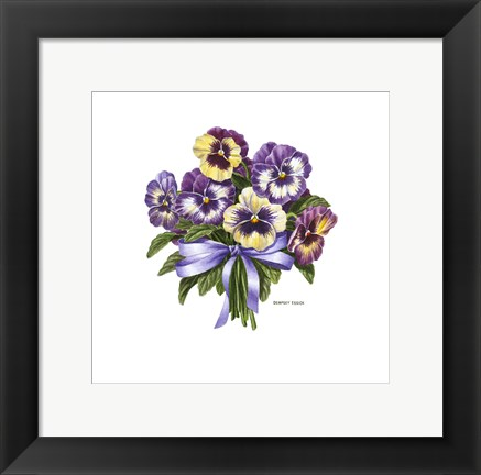 Framed Pansy Bouquet Print