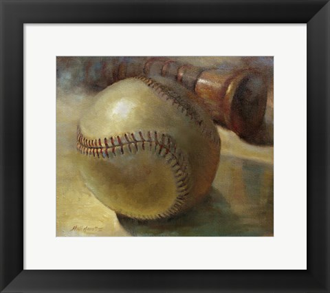 Framed Baseball with Bat Print